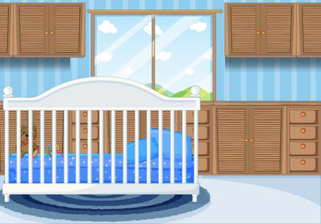 Bedroom scene with blue bed illustration
