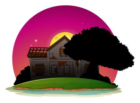 Old house on island at night illustration