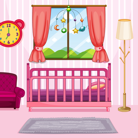Bedroom scene with pink bed illustration
