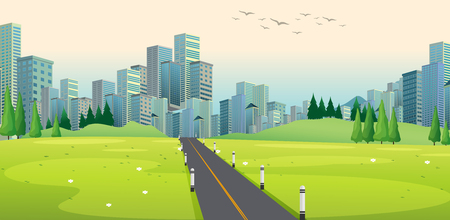 Background scene with road to city illustration Vettoriali