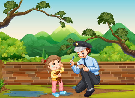 Crying girl and policeman in the park illustration