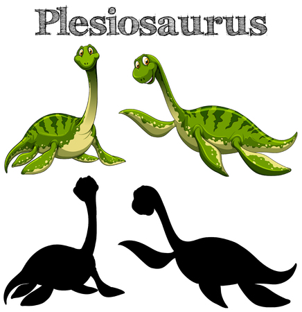 Two plesiosaurus with silhouette on white background illustration Illustration