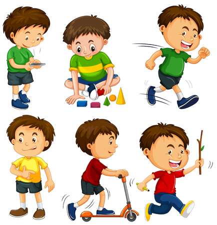 Boys in six different actions illustration