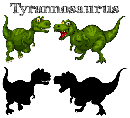 Tyrannosaurus and silhouette on white background illustration