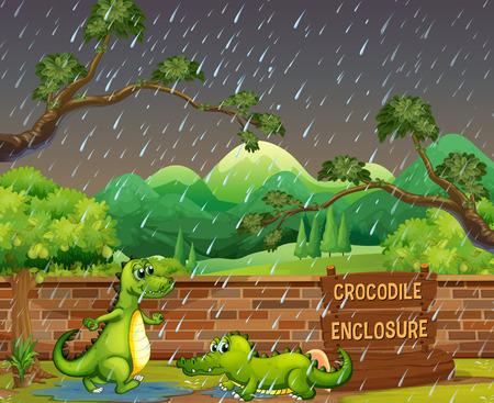 Two crocodiles in the rain vector illustration.