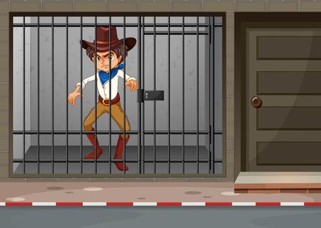 Cowboy being locked in jail illustration