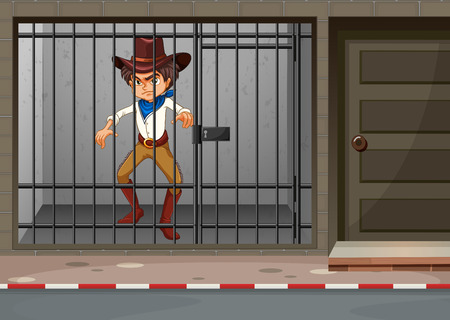 Cowboy being locked in jail illustration