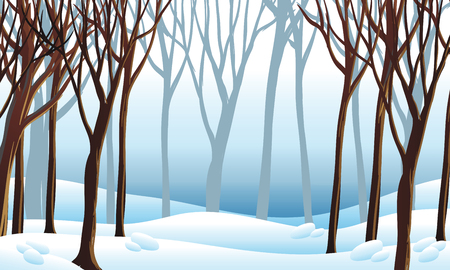 Background scene with snow in forest illustration Vettoriali