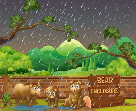 Three bears in the zoo on rainny day illustration