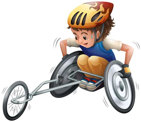 Boy on racing wheelchair vector illustration. 일러스트