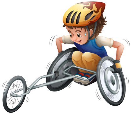 Boy on racing wheelchair vector illustration. Illustration