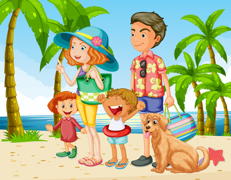 Summer holiday with family on the beach illustration
