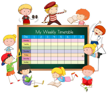 Weekly timetable with boys and girls illustration.