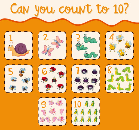 Counting to ten with many bugs illustration