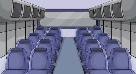 Scene in airplane with blue seats illustration.