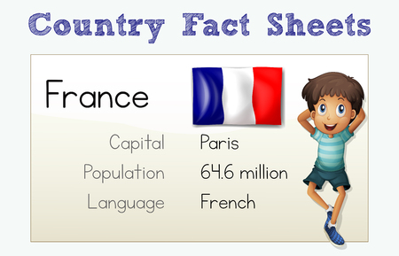 Country fact sheet for France Vector illustration.