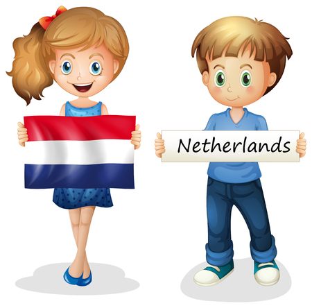 Boy and girl with flag of Netherlands illustration.