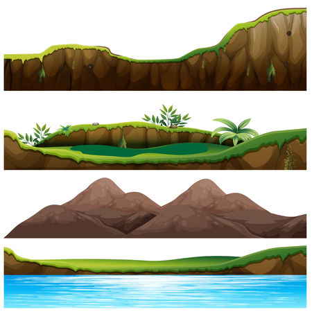Four views of mountain and river Vector illustration.