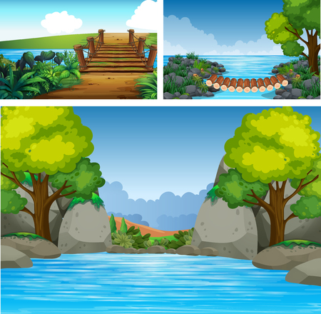 Three background scenes with river and trees illustration