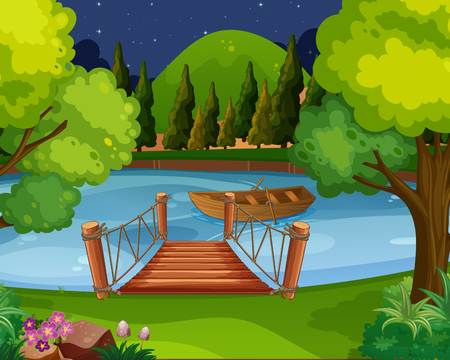 Background scene with boat floating on the river Vector illustration.