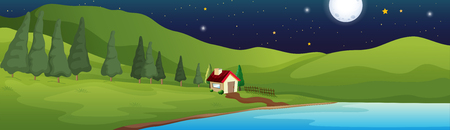 Background scene with little house by the lake illustration. Banco de Imagens - 99123843