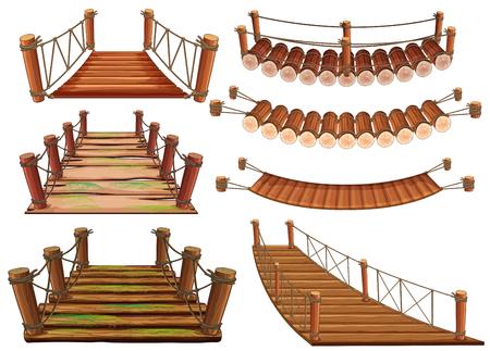 Wooden bridges in different designs illustration. Stock Illustratie