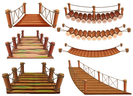 Wooden bridges in different designs illustration. Vettoriali
