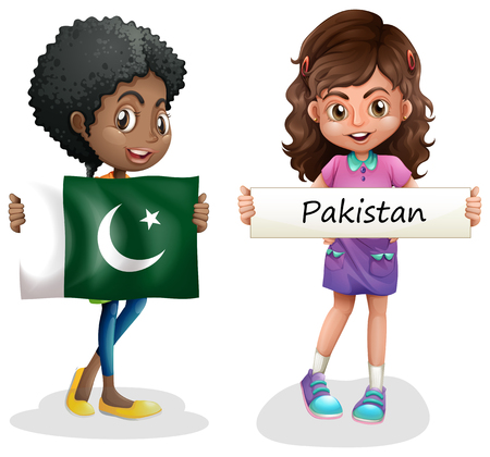 Two girls with flag of Pakistan illustration.