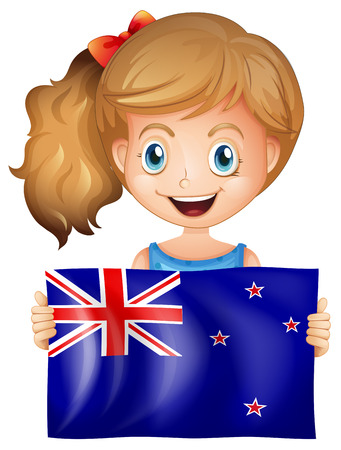 Happy girl with flag of New Zealand illustration
