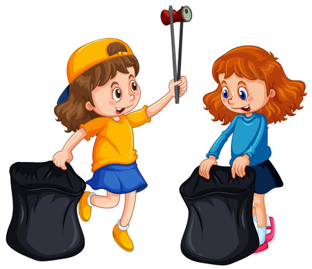 Two girls picking up trash illustration Vectores