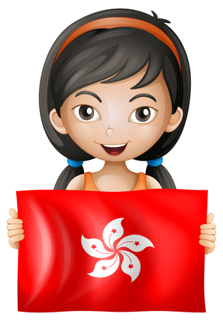 Happy girl with flag of Hong Kong illustration. Illustration