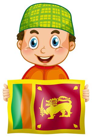 Happy boy and flag of Srilanka illustration Çizim