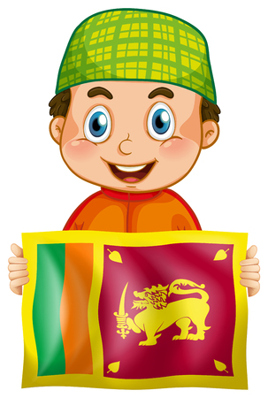 Happy boy and flag of Srilanka illustration Illustration