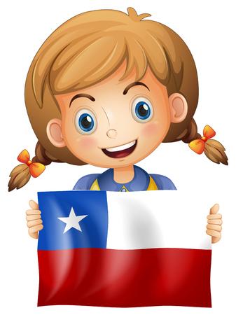 Girl holding flag of Chile illustration