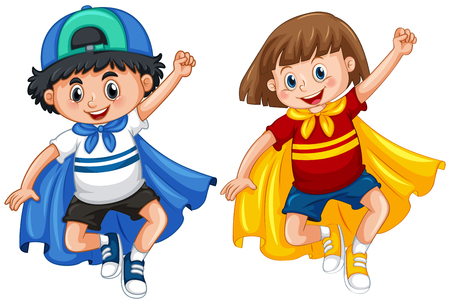 Boy and girl in hero outfit illustration