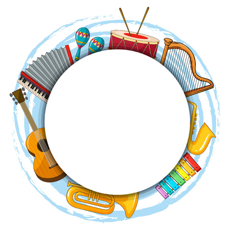 Frame template with musical instruments illustration
