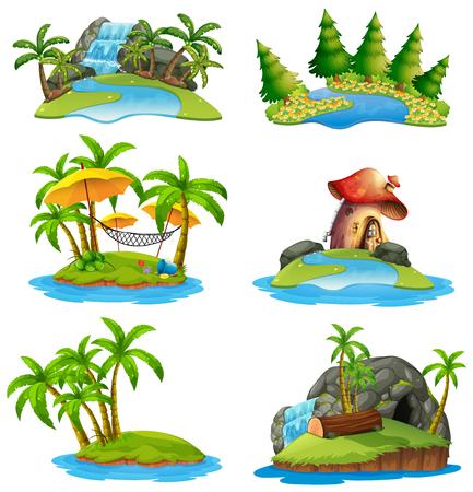 Different scenes of islands Vector illustration. Ilustracja