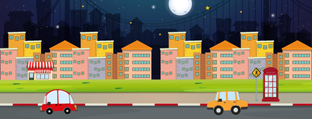 Background scene with buildings and cars in city illustration.