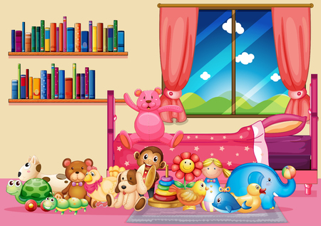 Many toys and books in bedroom illustration