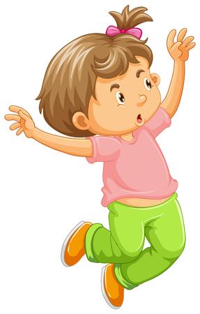 Little girl in pink shirt vector illustration. Illustration