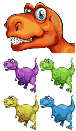 T-Rex in different colors illustration Illustration