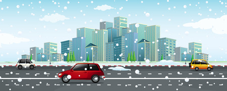 City scene with snow falling on the road Vector illustration.