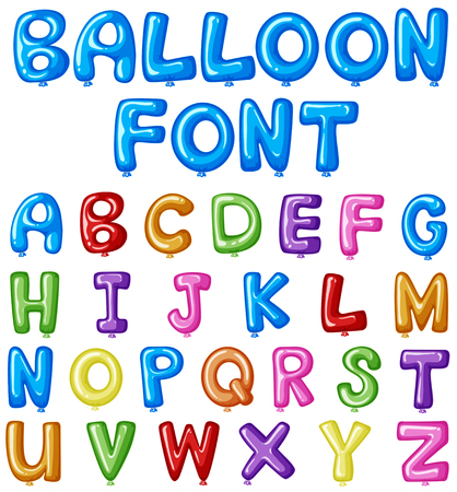 Balloon font design for english alphabets in many colors illustration