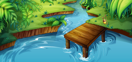 Background scene with little pier by the river illustration
