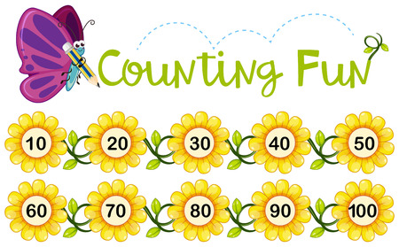 Butterfly counting number on flowers Vector illustration.