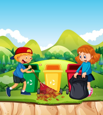 Kids Cleaning Leaf in the Park illustration Illusztráció