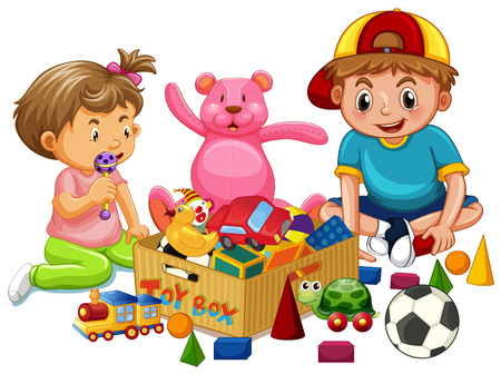 Brother and Sister Playing Toys illustration 일러스트