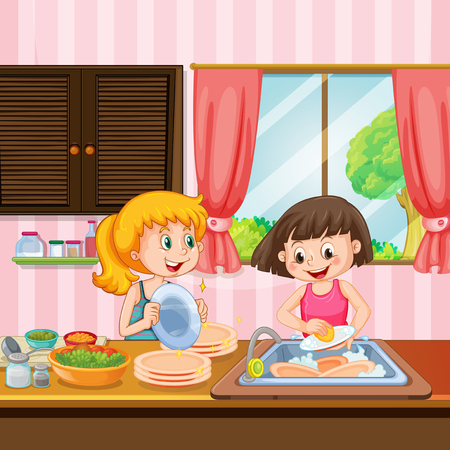 Sister Cleaning Dishes in Kitchen illustration