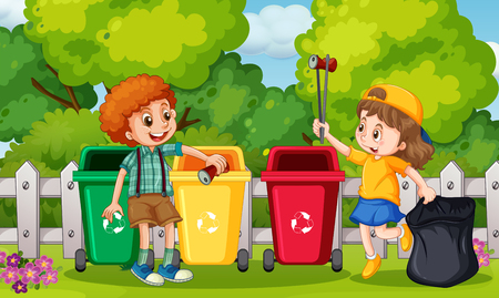 Kids Collecting Trash in Garden illustration