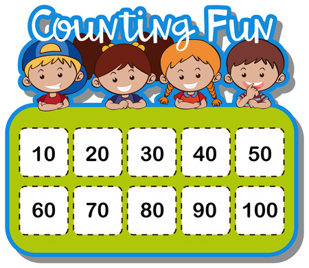 Math worksheet for counting numbers illustration  イラスト・ベクター素材